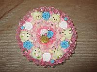 Букет из игрушек 6 мишек в розовом