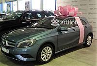 Розовый бант на машину, подарочная упаковка машины бантом