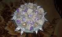 Букет из игрушек и конфет Ferrero Rocher 7 мишек в фиолетовом