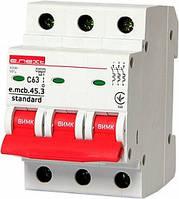 Модульный автоматический выключатель e.mcb.stand.45.3.C63, 3р, 63А, C, 4,5 кА, фото 1