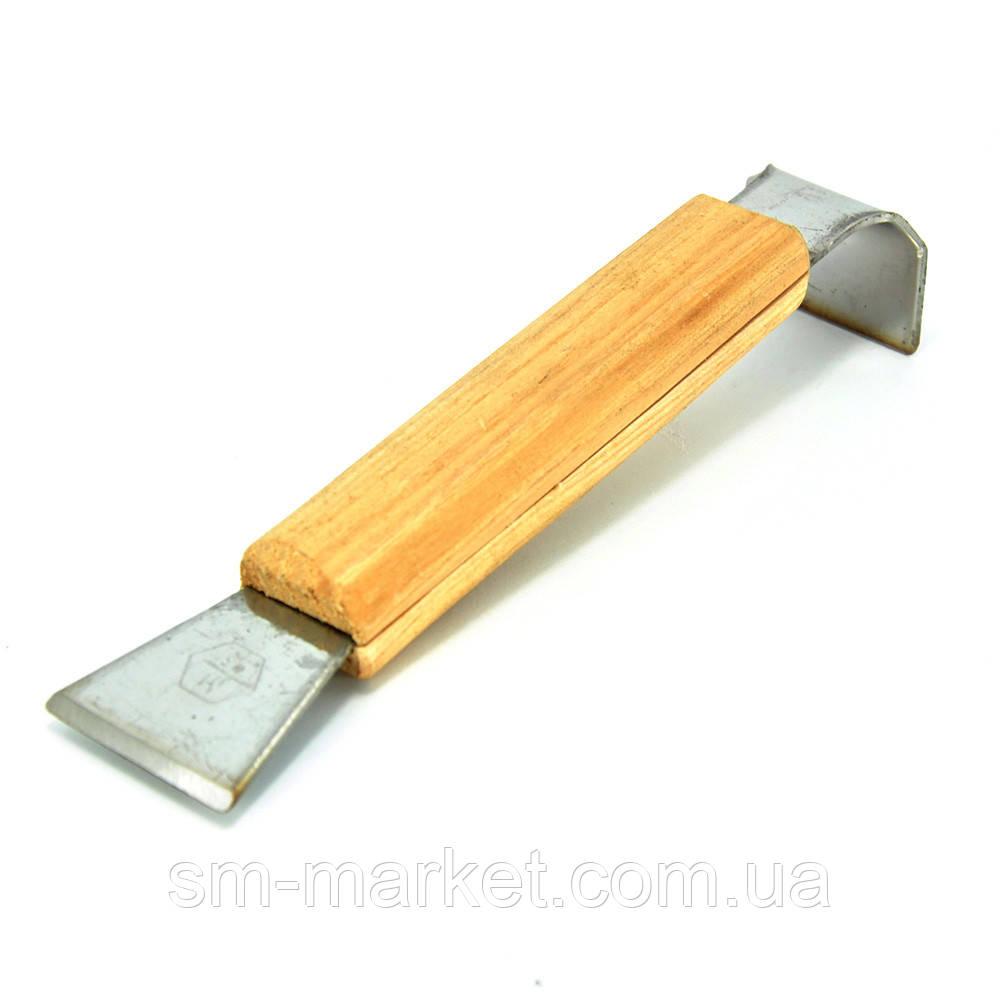 Стамеска пасечная из нержавеющей стали 160мм с деревянной ручкой