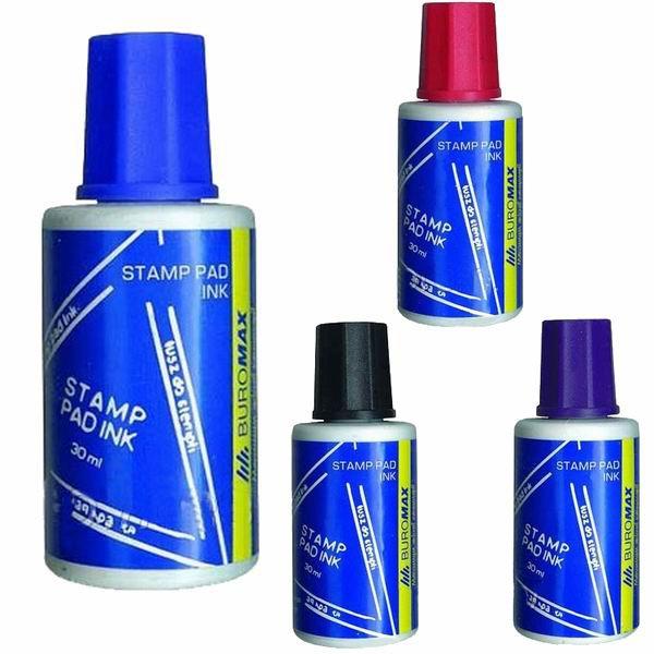 Штемпельная краска Buromax синий фиолетовый черный  для заправки штемпельных подушек