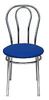 [ Стул Tulipan chrome S-5132 + Подарок ] Мягкий хромированный стул искусственная кожа синий