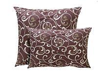 Подушка з кульковим силіконом, бязь, Шоколадний орнамент (50х50 см.)