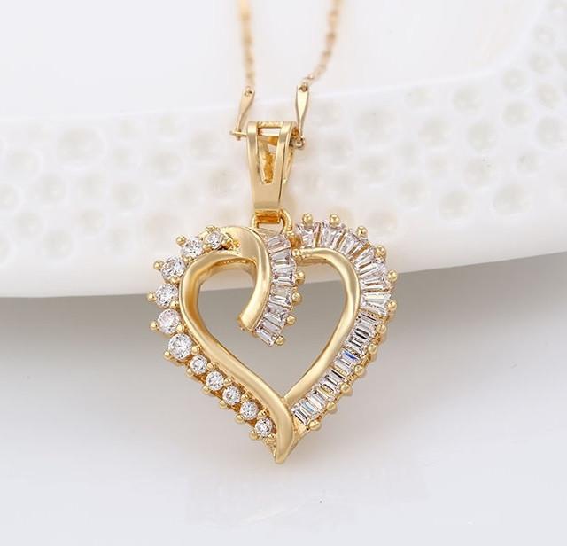 Кулон Серце з багетним  цирконієм, позолота