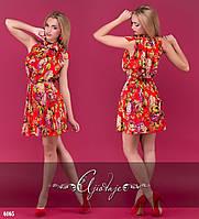 Платье короткое с цветочным принтом