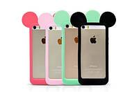 Бампер для iPhone 5,5s с ушками Микки Мауса  Soft touch