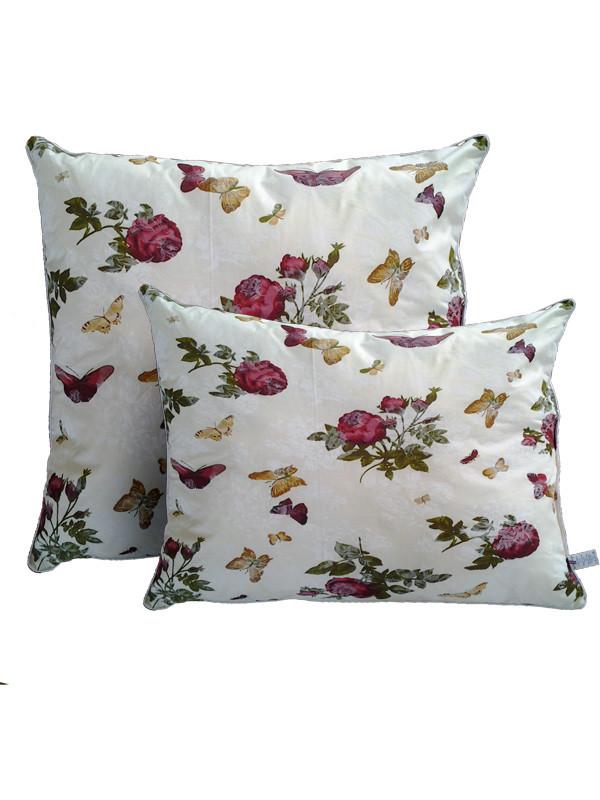 Подушка с шариковым силиконом, бязь, Бабочки-розы (60х60 см.)