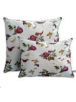 Подушка з кульковим силіконом, бязь, Метелики-троянди (50х70 див)