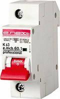 Модульный автоматический выключатель e.mcb.pro.60.1.K 63 new, 1р, 63А, K, 6кА new, фото 1
