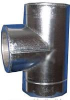 Тройник из нержавеющей стали в оцинкованном кожухе с термоизоляцией (87°) d 100/160