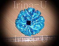 Резинка для волос голубой цветочек