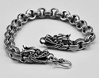 Серебряный браслет Дракон унисекс 8 мм 33,22 гр 20 см.
