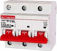 Модульный автоматический выключатель e.mcb.pro.60.3.K 100 new, 3р, 100А, K, 6кА new, фото 1