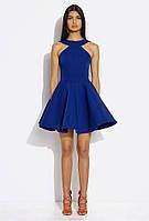 Стильное женское платье яркого синего цвета
