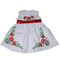 Платье для девочки детское с вышивкой с маками белое с поясом