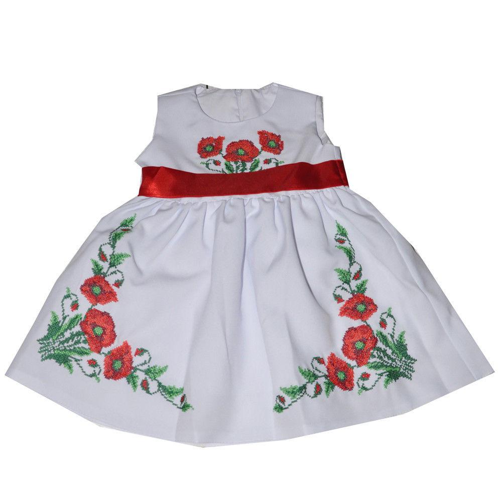 Платье для девочки белое с маками