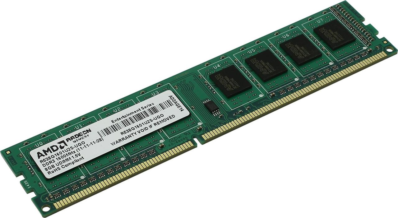 "Оперативная память AMD 8GB DDR3 1600MHz DIMM (R538G1601U2S-UGO) ""Over-Stock"" Б/У"