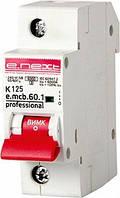 Модульный автоматический выключатель e.mcb.pro.60.1.K 125 new, 1р, 125А, K, 6кА new, фото 1