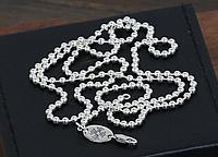 Серебряная цепочка цепь шарики унисекс Chrome Hearts 55-65 см 3 мм