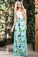 Женское летнее длинное платье бирюза + большой размер
