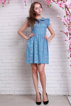 Стильное повседневное летнее джинсовое платье с модным принтом., фото 2