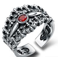 Мужское серебряное кольцо с гравировкой Лилия Chrome Hearts