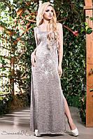 Женское летнее длинное платье серебро + большой размер