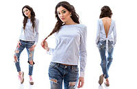 Женская коттоновая блузка с открытой спиной