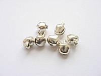 Бубенчик металлический, серебристый, 6 мм