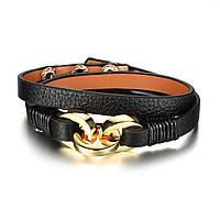 Браслет кожаный черный на заклепках BL1071, фото 1