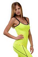 Женская майка для спорта розовая желтая-лаймовая LIME TUNE
