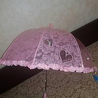 Зонт детский прозрачный сердце малиновый