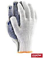 Защитные перчатки выполненные из толстого трикотажа с односторонним точечным покрытием RDZN600 WN
