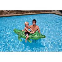 Детский надувной плотик Крокодил одноместный Intex 58546 168*86см, надувной крокодил для плавания intex