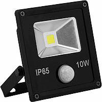 Прожектор светодиодный LL-860 1LED 10W белый 6400K(+датчик) 230V (126*118*50mm) Черный