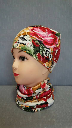Демисезонная детская шапочка белая вышиванка, фото 2