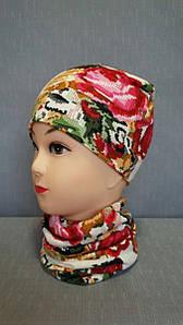 Демисезонная детская шапочка белая вышиванка