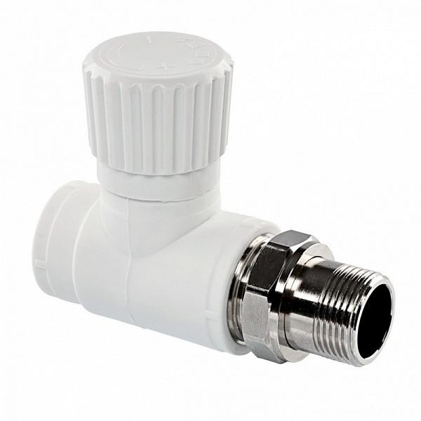 "Вентиль для радиатора PPR 20x1/2"" прямой Tebo белый"