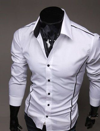 ee4d380b713 Мужская стильная рубашка с длинным рукавом - белая - Web-покупки УСПЕХ -  Модная одежда