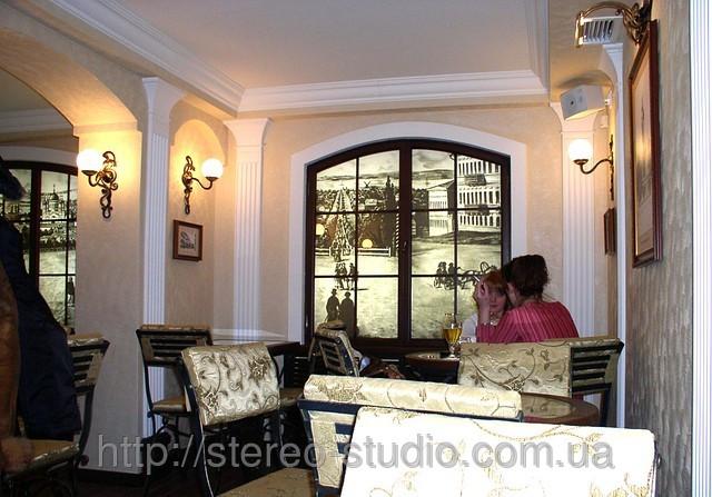 """Оформление кофейни """"Екатеринослав"""". Фальш окно с видом старинной улицы."""