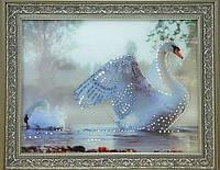 Нежная картина со стразами Лебеди