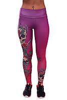 Женские лосины розово фиолетовые для фитнеса (компресионные) PERIL BEAUTY