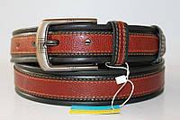 Ремень кожаный 40 мм нв чорной осново коричневая вставка текстура свинная кожа ппяжка матовая