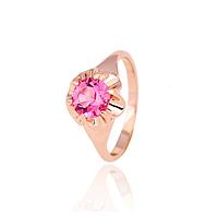 """Золотое кольцо с розовым кварцем """"Советская классика"""""""