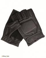 Перчатки кожаные тактические беспалые, (Black)
