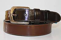 Ремень кожаный унисекс 40 мм цвет тёмно-коричневый/светло-коричневый пряжка текстурированый глянец