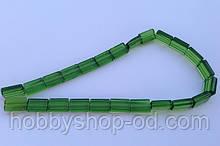 Бусина Прямоугольная цвет зеленый (гороховый) 10*15 мм