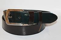 Ремень кожаный лаковый 40 мм цвет коричневый/тёмно-зелёный пряжка текстурированый глянец