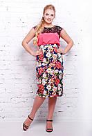 Коттоновая юбка карандаш средней длины миди с цветочным принтом большого размера 54-60, фото 1